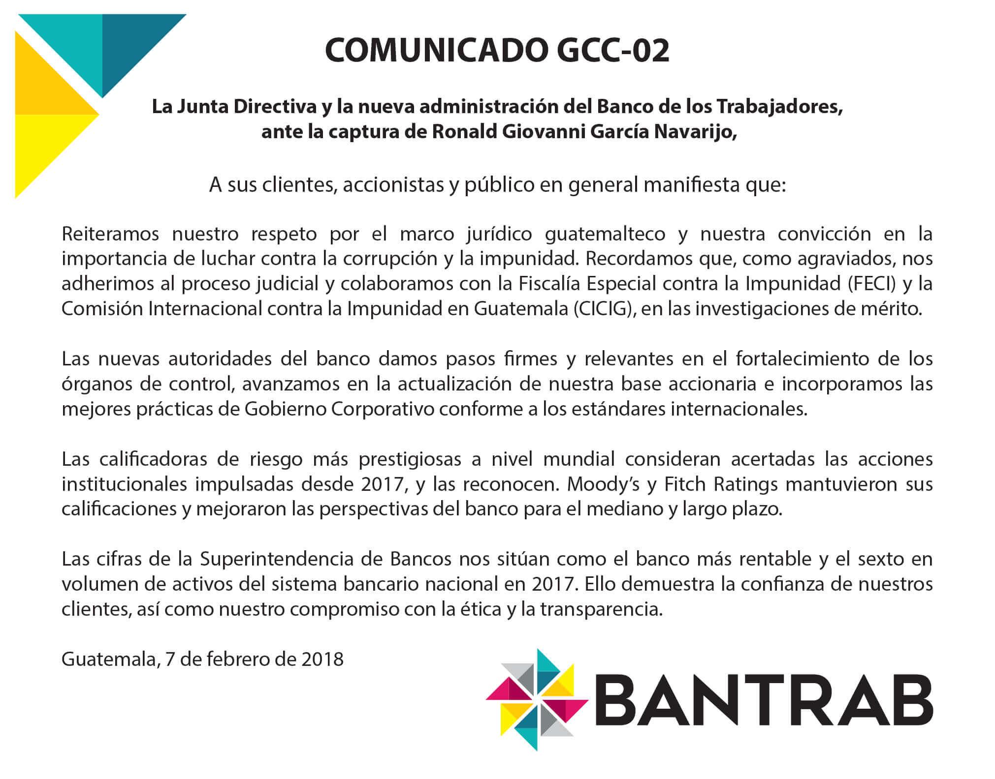 Comunicado de Prensa - BANTRAB